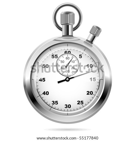 Retro mechanic chromed stopwatch vector illustration. Front view.