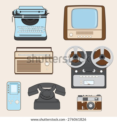 Retro Media Gadgets - stock vector
