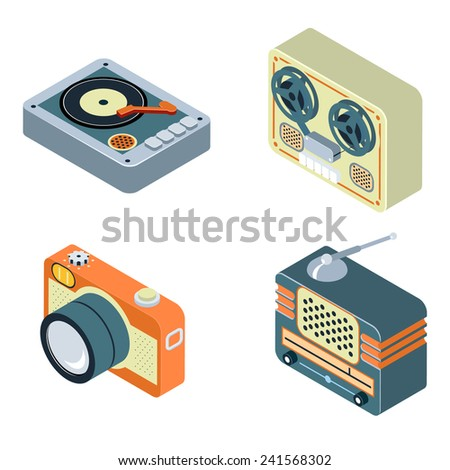 Retro Media. Radio, reel tape recorder and turntable. Old equipment for audio and photo. Vector illustration - stock vector