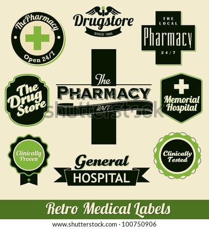 Retro Medical Labels - stock vector