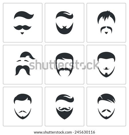Hair Style Icons : ... hair and facial hair graphic designs retro mens hair styles icon set