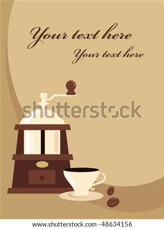 Retro menu template with coffee grinder and a cup - stock vector
