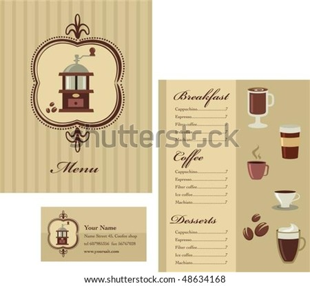 Retro menu template with coffee icons - stock vector