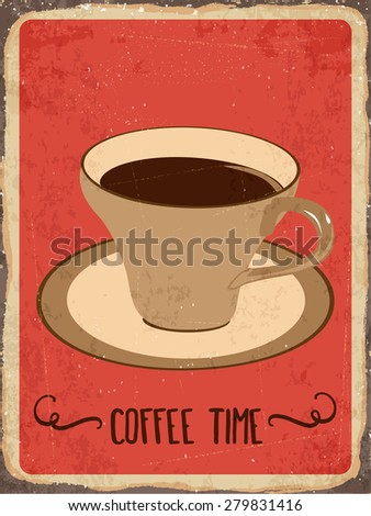 """Retro metal sign """"Coffee time"""", eps10 vector format - stock vector"""