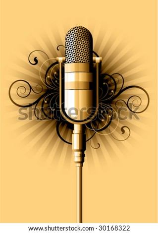 retro microphone on a white background - stock vector