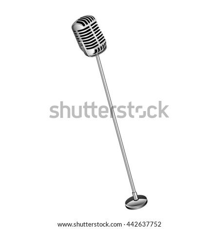 Retro Microphone On Stand. isolated on white background - stock vector
