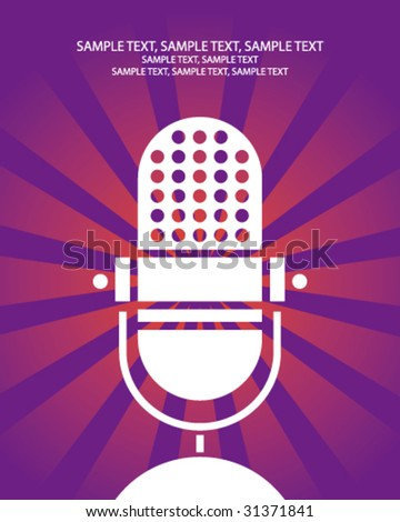 retro microphone poster - stock vector
