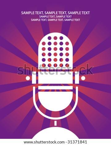 retro microphone poster - stock vector