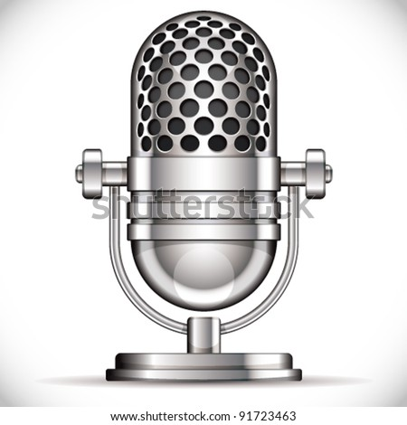 Retro microphone vector illustration. - stock vector