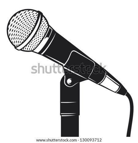 retro microphone with stand (microphone on a stand, classic microphone) - stock vector