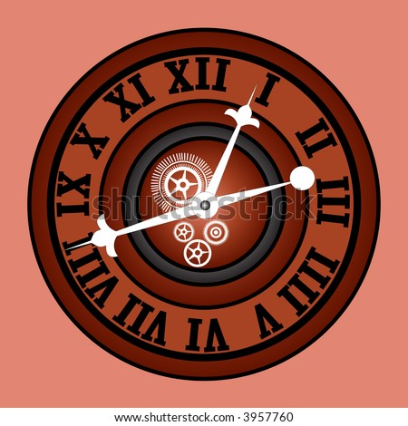 retro modern  clock with roman numerals and gears vector - stock vector