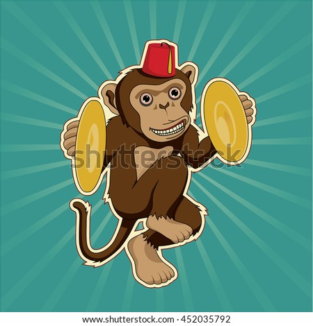 Retro monkey with cymbals
