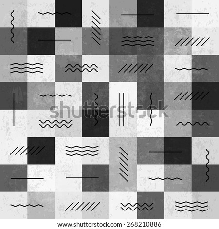 Retro monochrome vintage seamless pattern with lines - stock vector