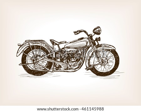 retro motorcycle vehicle sketch style vector stock vector 461145988 shutterstock. Black Bedroom Furniture Sets. Home Design Ideas
