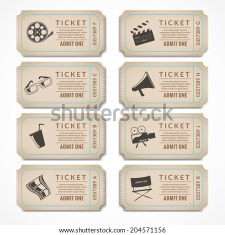 Retro movie cinema ticket banners with vintage camera popcorn isolated vector illustration. - stock vector