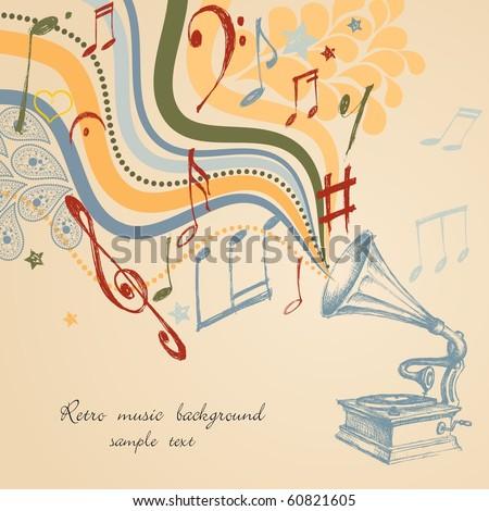 Retro music background - stock vector