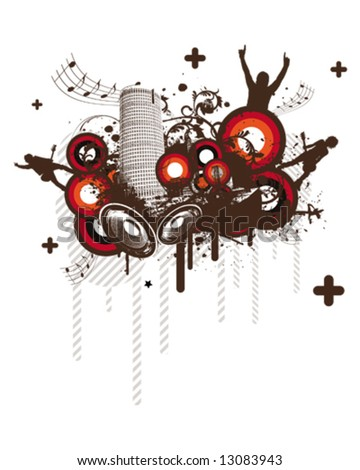Retro Music City - stock vector