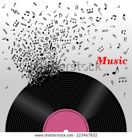 Retro music concept with a cloud of music notes emitting from a long play vinyl record with the text Music - stock vector