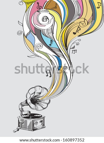 retro music concept with vintage phonograph - stock vector