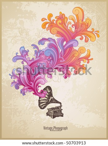retro music concept with vintage phonograph and colorful handdrawn swirls - stock vector