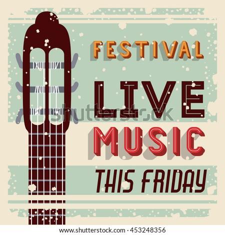 retro music festival poster isolated icon design, vector illustration  graphic  - stock vector