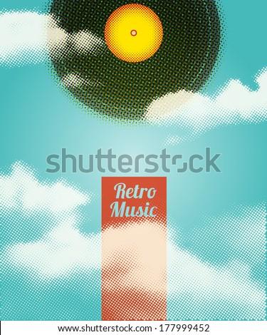 Retro Music Halftone Poster. Vector illustration, eps10. - stock vector