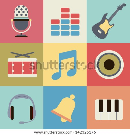Retro music icons - stock vector