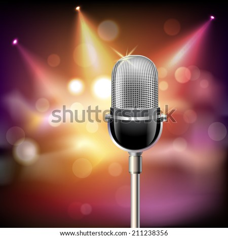 Retro music microphone musical equipment emblem on stage background vector illustration. - stock vector