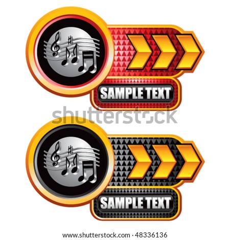 retro music notes gold arrow nameplates