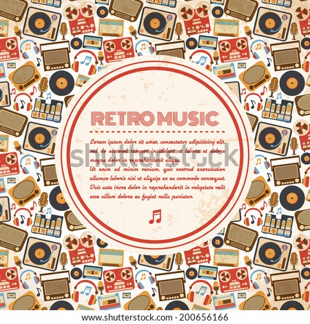 Retro music poster with vintage radio tape recorder old microphone icons vector illustration - stock vector