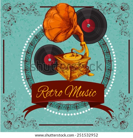Retro music poster with vinyl gramophone and floral ornament sketch vector illustration - stock vector