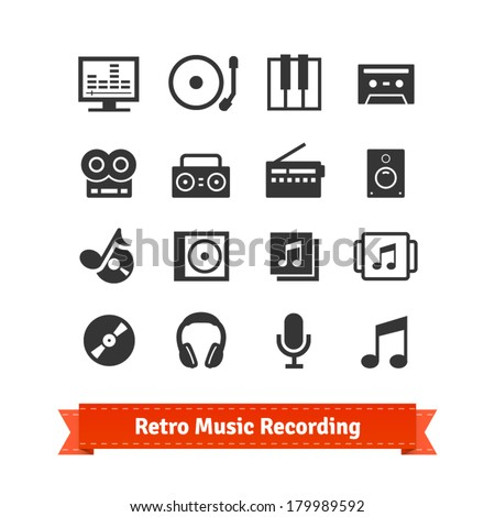 Retro music recording and multimedia icon set. - stock vector