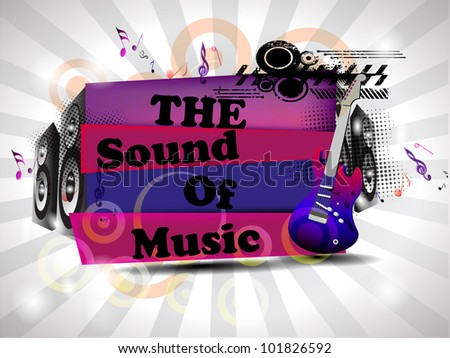 Retro musical background with guitar and  text on floral rays  background. EPS 10. vector illustration. - stock vector