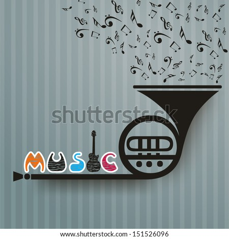 Retro musical background with trumpet. - stock vector
