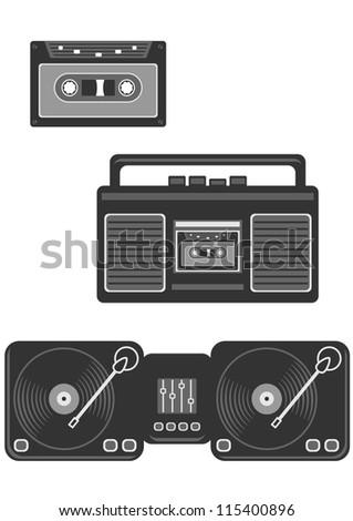 retro musical devices icon set - stock vector