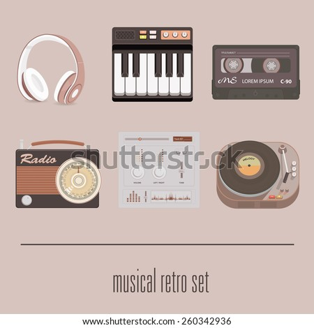 retro musical icon set on isolated brown background vector illustration - stock vector