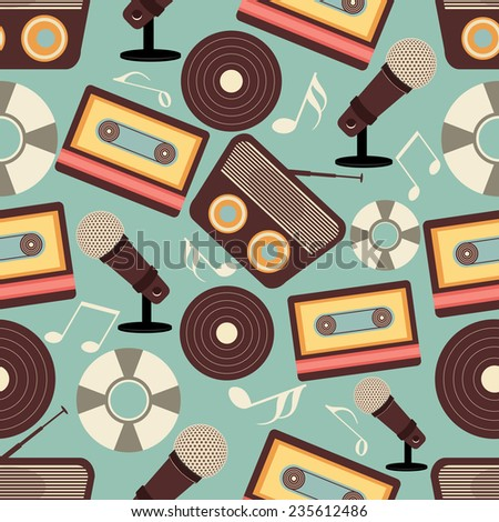 Retro musical instruments seamless pattern. - stock vector
