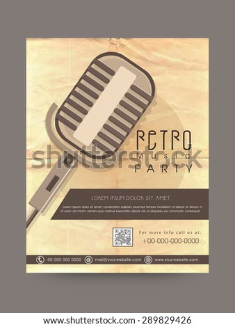 Retro Musical Party celebration poster or invitation design decorated with microphone. - stock vector
