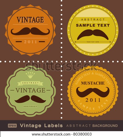retro mustache vintage fancy labels - stock vector