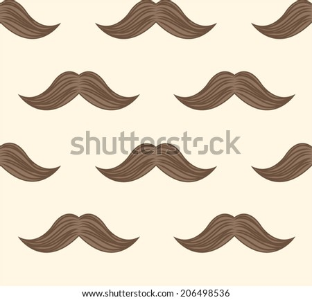 Retro mustaches seamless background  pattern in vector