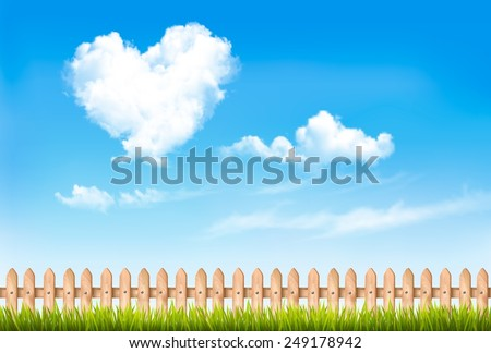 Retro nature background with blue sky with hearts shape clouds. Vector illustration - stock vector