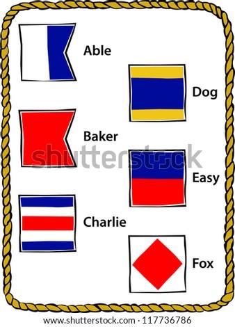 Retro Nautical Alphabet Flags A - F Vector Illustration - stock vector