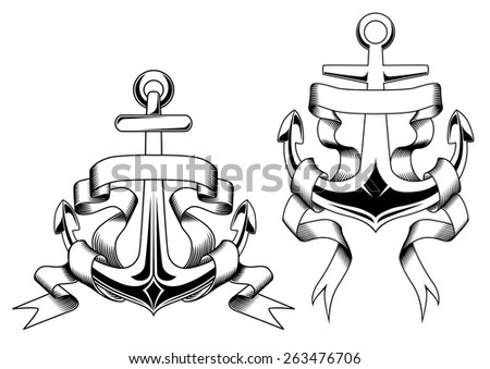Retro nautical anchors with blank banners or ribbons in outline sketch style suitable for badge, logo or emblem template design - stock vector