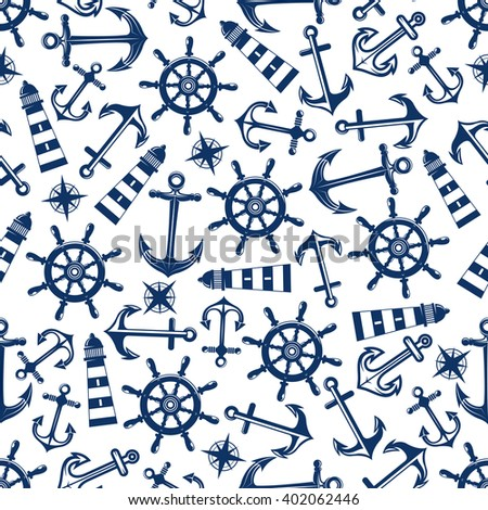 Retro nautical seamless pattern with blue ship anchors and helms, lighthouses and vintage compass roses on white background. May be use for marine theme or scrapbook page design - stock vector