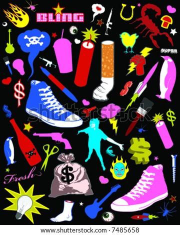 retro neon clip art - stock vector