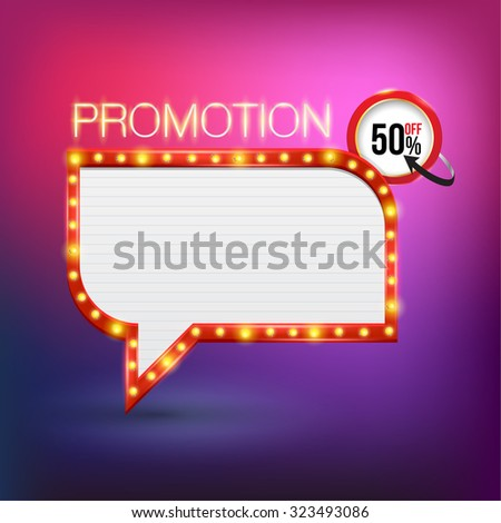 Retro neon promotion glowing banner. Vector illustration. Can use for pop up advertising. web and printing banner vector. - stock vector