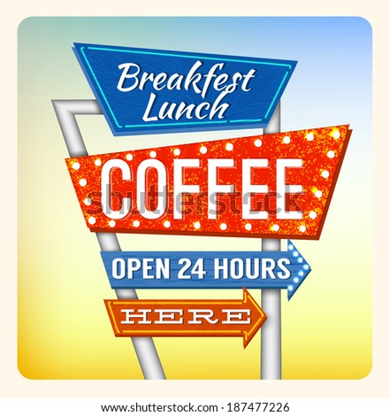 Retro Neon Sign Coffee and Breakfest lettering in the style of American roadside advertising vintage style 1950s - stock vector