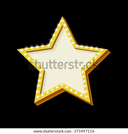 Retro Neon star with lights. Vintage symbol of a star. Volumetric 3D frame icon. Background for your text, messages. Design ellement for advertising banner. Vector illustration - stock vector