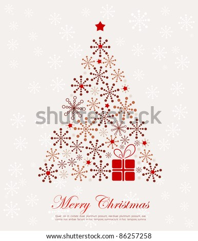 Retro New Year tree with present - stock vector