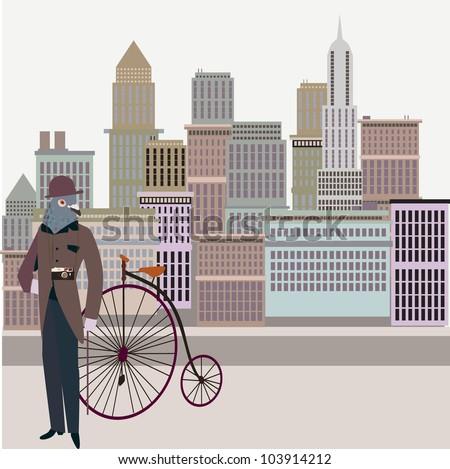 Retro new york illustration - Vintage bird on a bike - stock vector